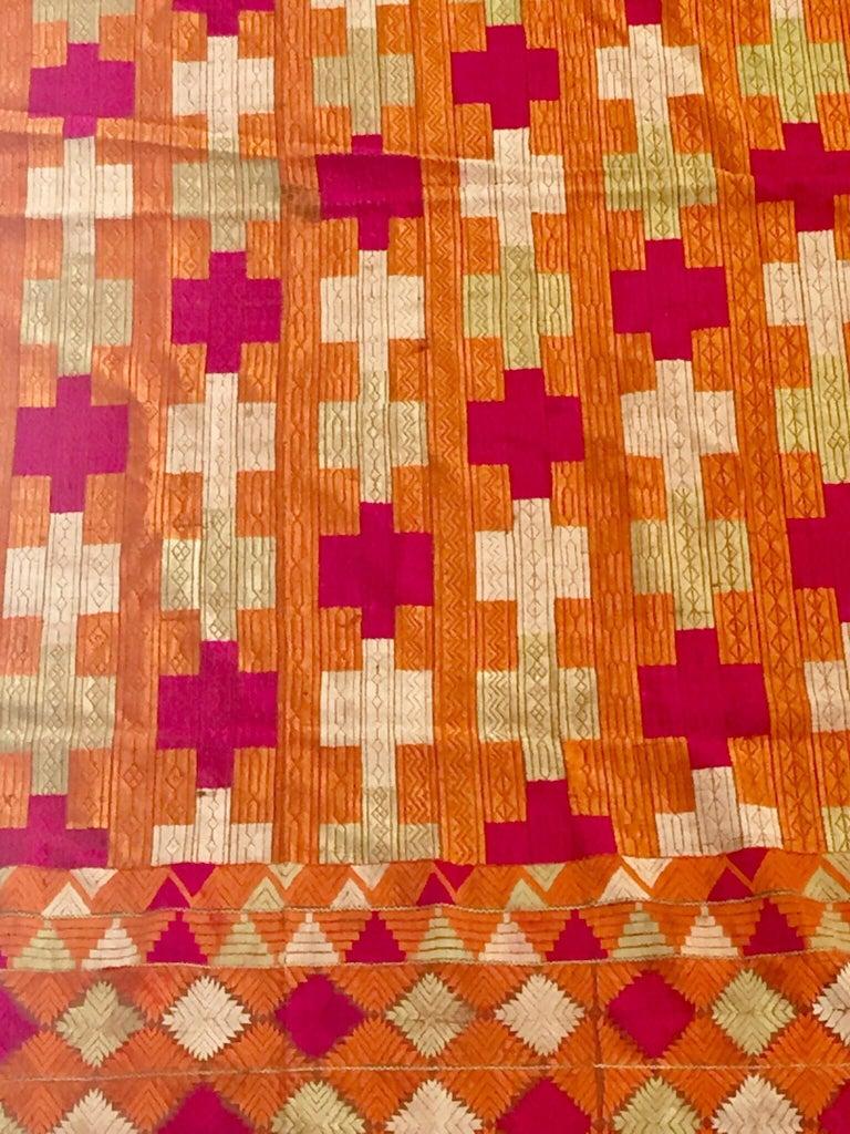 Indian Phulkari Wedding Shawl, Silk Embroidery on Cotton, Punjab India, 20th Century For Sale