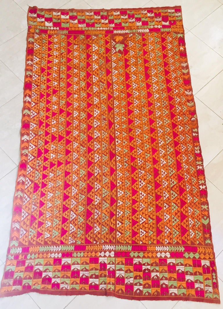 Embroidered Phulkari Wedding Shawl, Silk Embroidery on Cotton, Punjab India 20th Century For Sale