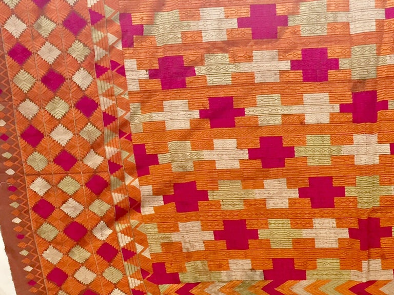 Embroidered Phulkari Wedding Shawl, Silk Embroidery on Cotton, Punjab India, 20th Century For Sale