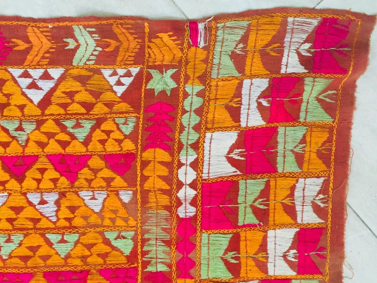 Phulkari Wedding Shawl, Silk Embroidery on Cotton, Punjab India 20th Century For Sale 1