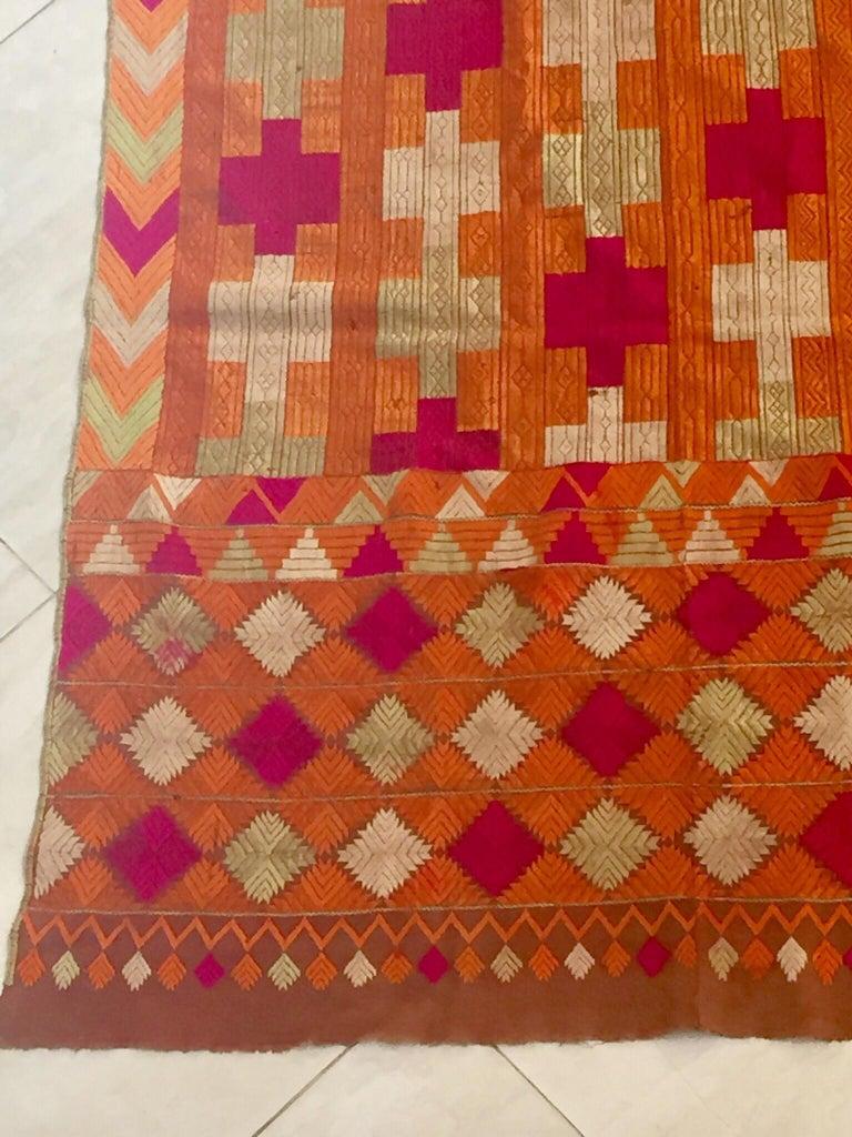 Phulkari Wedding Shawl, Silk Embroidery on Cotton, Punjab India, 20th Century For Sale 1
