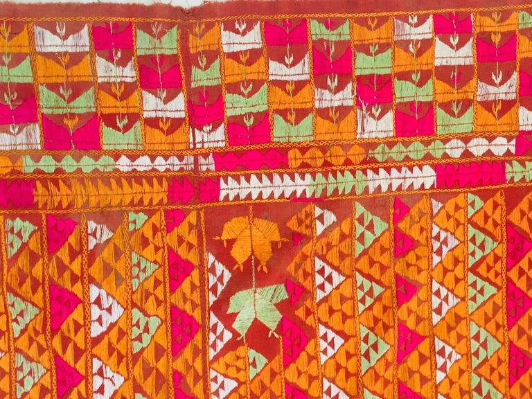 Phulkari Wedding Shawl, Silk Embroidery on Cotton, Punjab India 20th Century For Sale 2