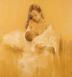 """Mother's Love"" Asian contemporary painting by portrait artist Phuong Quoc Tri"