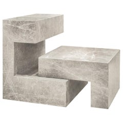 Phylax Contemporary Sculptural Table in Solid Marble