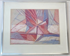 Phyllis Ciment Abstract Pastel Painting c.1970s