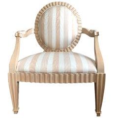 "Phyllis Morris ""Cosmopolitan"" Neo-Rococo Peach Striped Silk Fauteuil"
