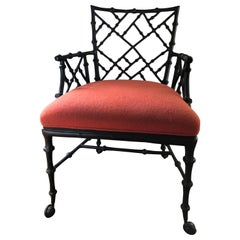 Phyllis Morris Faux Bamboo Ebony Iron Armchair on Casters
