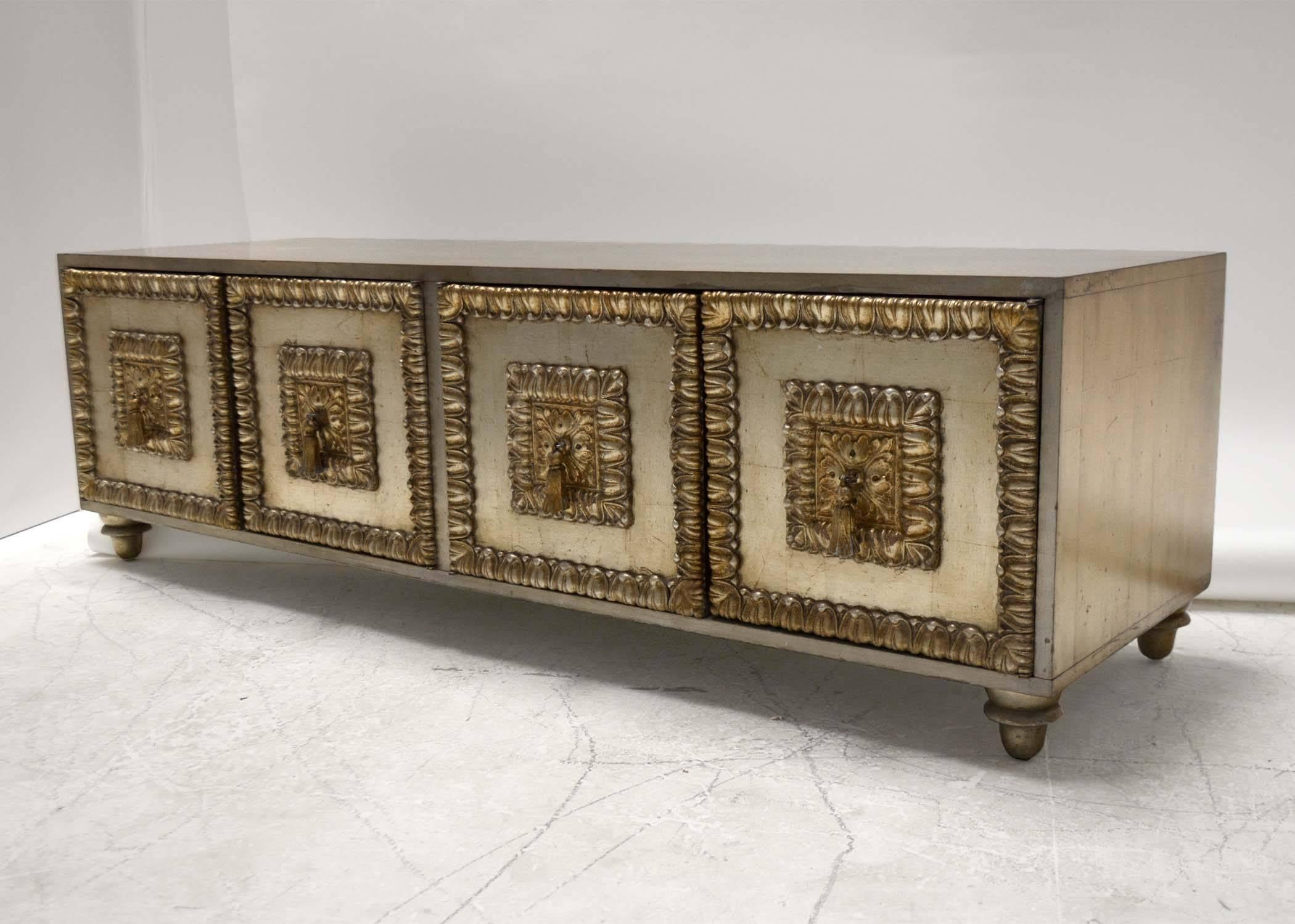 A Low Cabinet By Phyllis Morris With And Antiqued Silver Leaf Finish. Four  Doors With