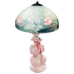 Phyllis Morris Original Pink Poodle Table Lamp, Signed, Hollywood Regency, 1952