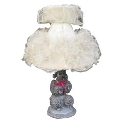 Phyllis Morris Original Poodle Table Lamp, Signed, Black, 1952 Vintage Lampshade
