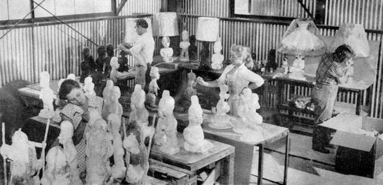 Phyllis Morris Original Poodle Table Lamp, Signed, Blue, 1952 Hollywood Regency For Sale 1