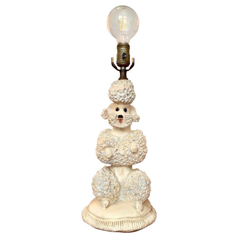 Phyllis Morris Original Poodle Table Lamp, Signed, Blue, 1952 Hollywood Regency For Sale
