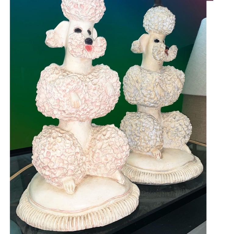 Phyllis Morris Original Poodle Table Lamp, Signed, Pink, 1952 Hollywood Regency In Good Condition For Sale In Brooklyn, NY