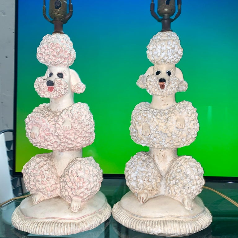 American Phyllis Morris Original Poodle Table Lamp, Signed, Pink, 1952 Hollywood Regency For Sale
