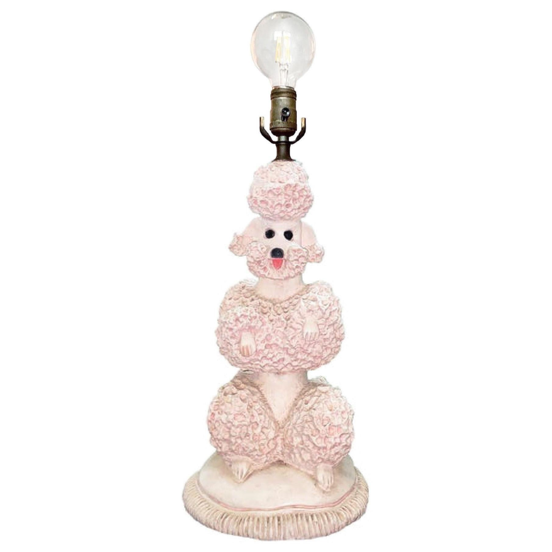 Phyllis Morris Original Poodle Table Lamp, Signed, Pink, 1952 Hollywood Regency