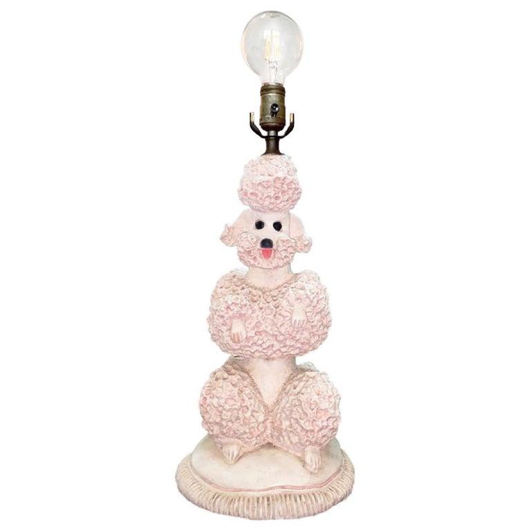 Phyllis Morris Original Poodle Table Lamp, Signed, Pink, 1952 Hollywood Regency For Sale