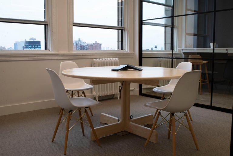 The Physalia dining table is the perfect center piece to a home or office's communal space. The clean lines provide a blank canvas for the everyday, while the soft curves feel equally smooth under your forearms or your stockinged heels. The