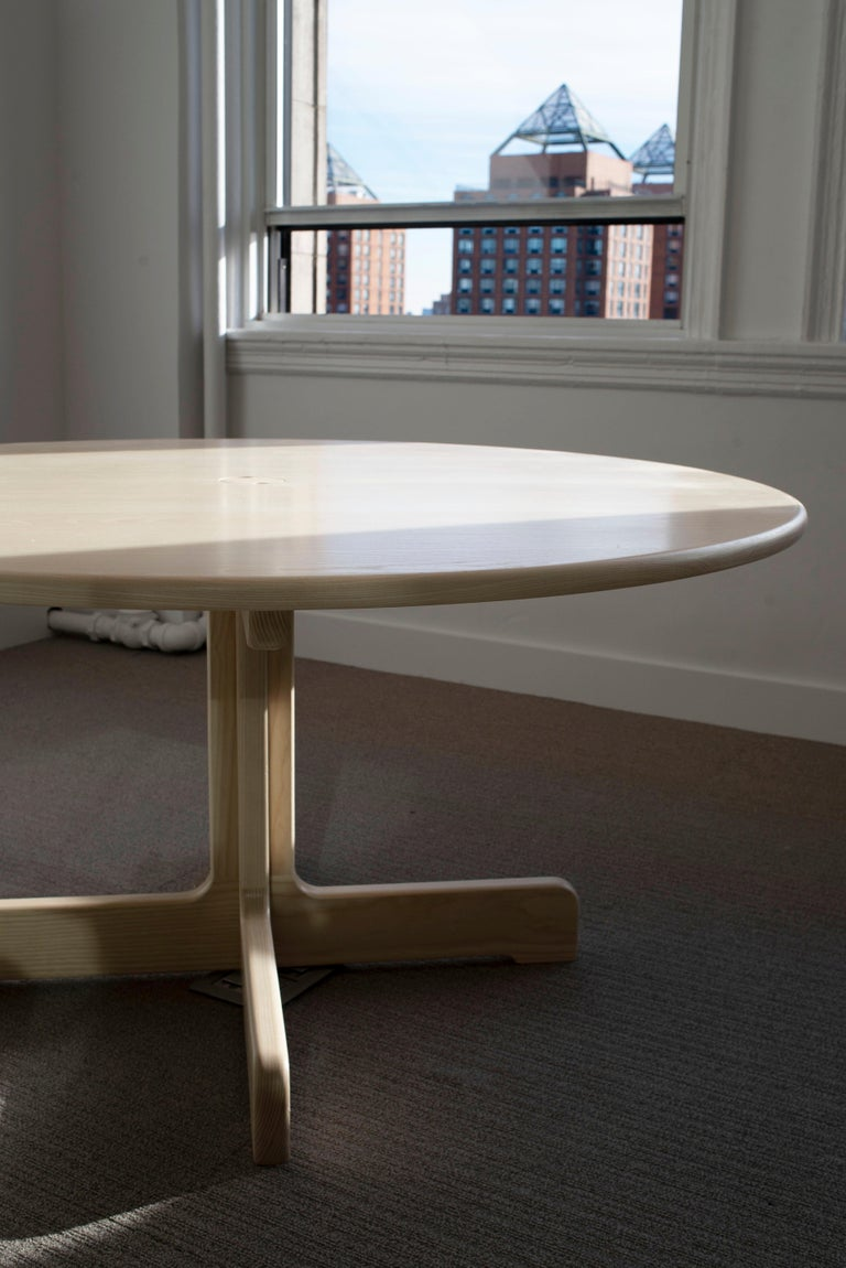 American Classical 'Physalia' Round Table in Bleached Ash For Sale