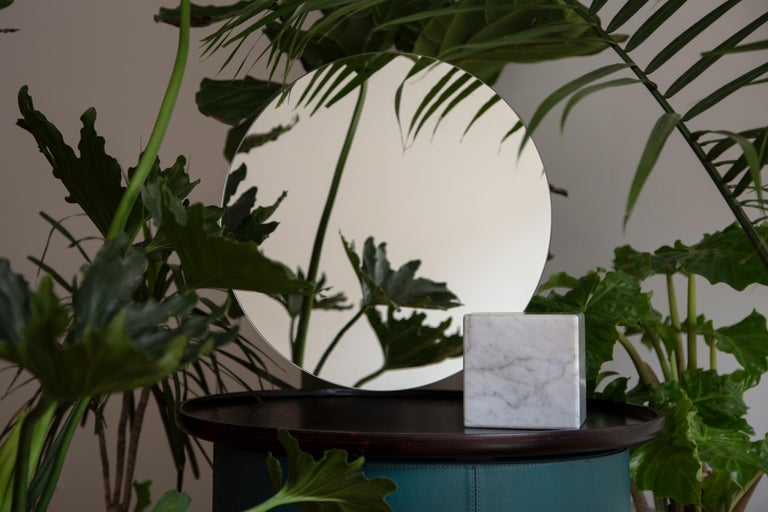 Chinese Pi Mirror from Souda, Carrara Marble Table Mirror, in Stock For Sale