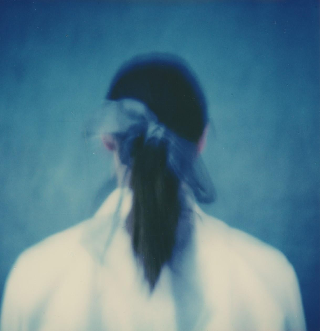 Blue Ribbon - Portrait Cyanotype Style Film Photographic Print Framed