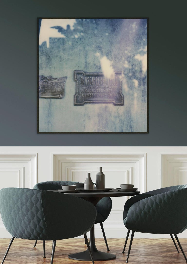 Buenos Aires - Still Life Cyanotype Style Film Photographic Print Framed - Gray Abstract Photograph by Pia Clodi