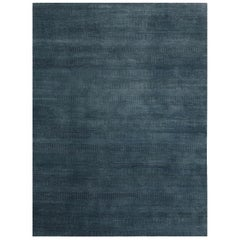 Pia, Contemporary Solid Hand Knotted Area Rug, Denim Blue