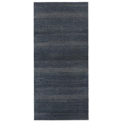 Pia, Contemporary Solid Hand Knotted Runner Rug, Denim Blue