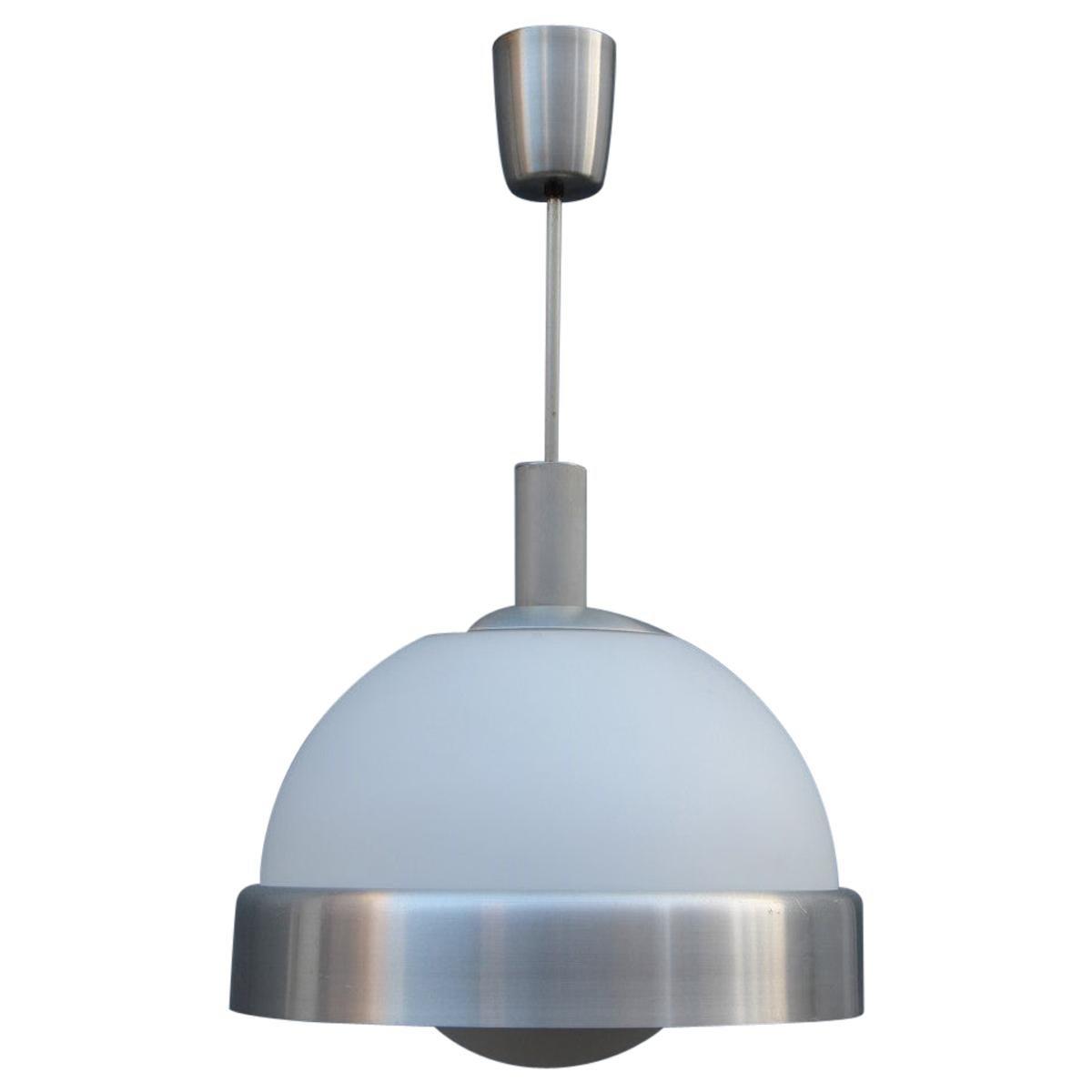 Pia Guidetti Crippa Chandelier for Lumi Milano 1970s Italian Design White Glass