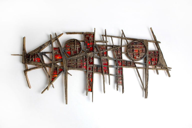 Belgian Pia Manu Brutalist Illuminated Wall Sculpture in Steel & Red Stained Glass 1970s For Sale