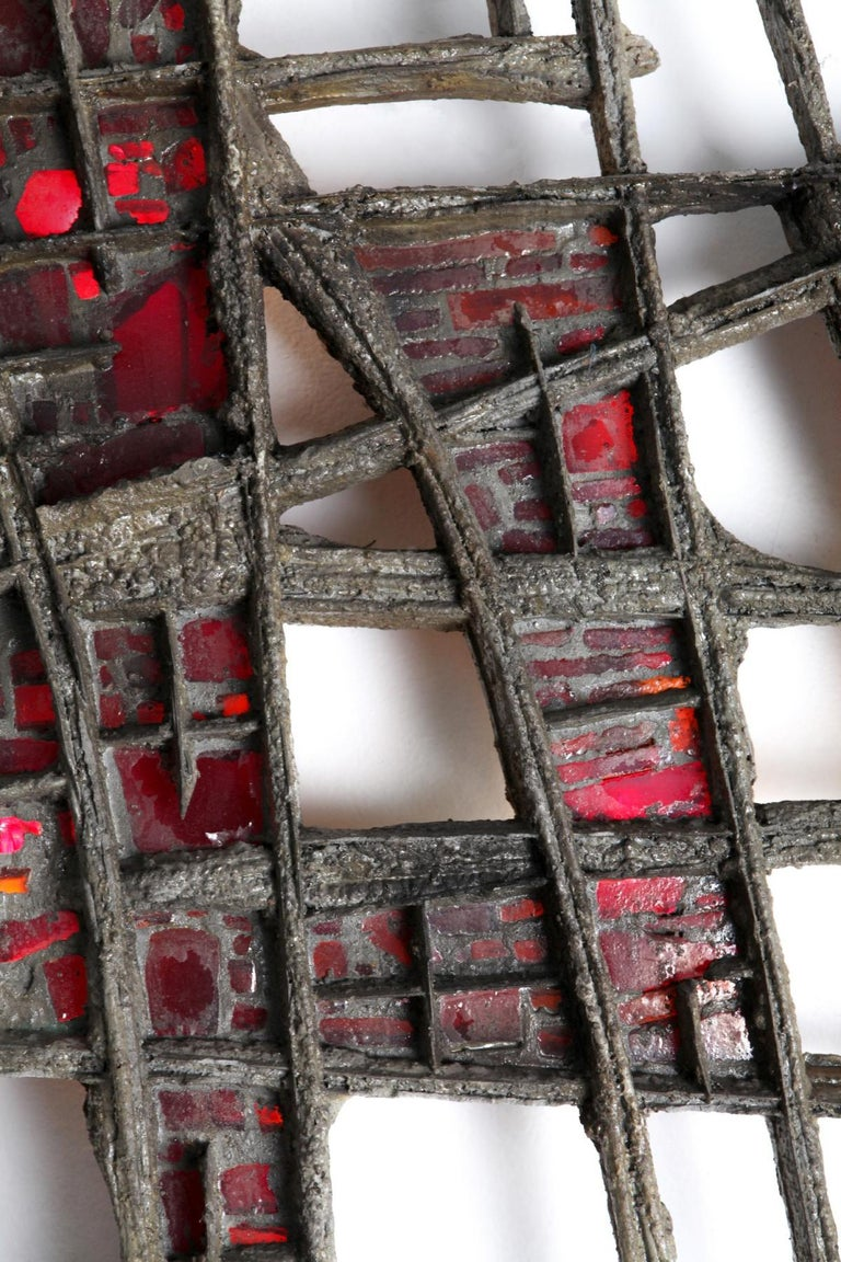 Pia Manu Brutalist Illuminated Wall Sculpture in Steel & Red Stained Glass 1970s In Good Condition For Sale In Dallas, TX