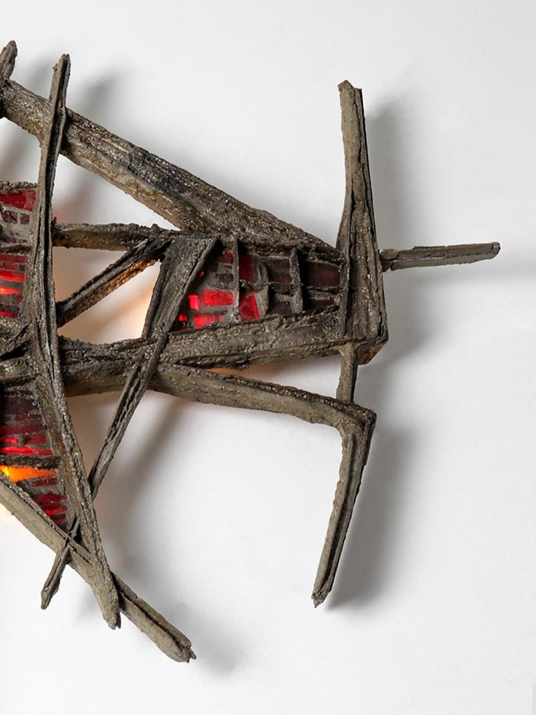 20th Century Pia Manu Brutalist Illuminated Wall Sculpture in Steel & Red Stained Glass 1970s For Sale