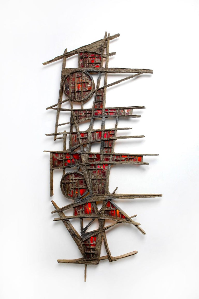 Pia Manu Brutalist Illuminated Wall Sculpture in Steel & Red Stained Glass 1970s For Sale 3