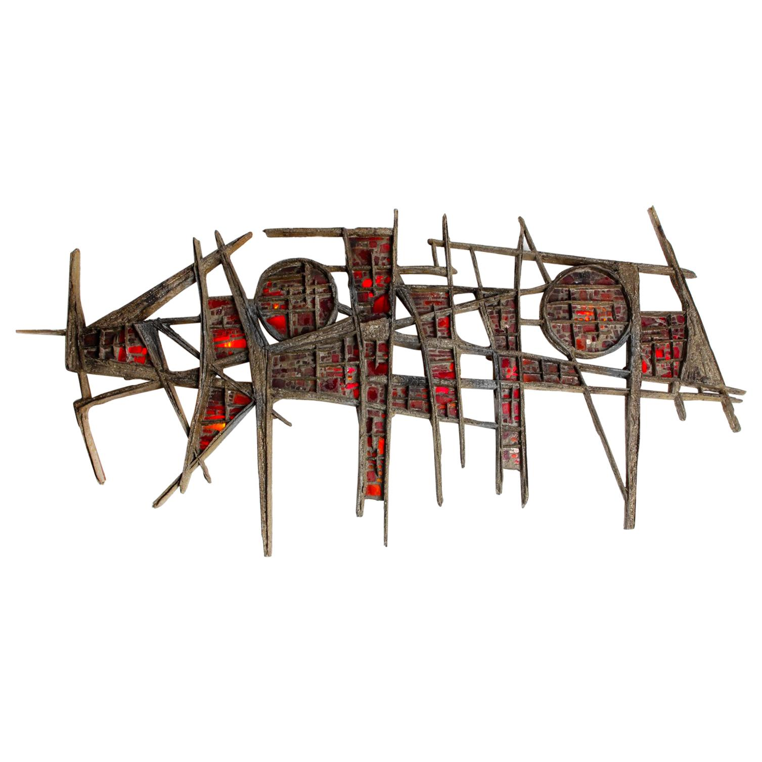 Pia Manu Brutalist Illuminated Wall Sculpture in Steel & Red Stained Glass 1970s