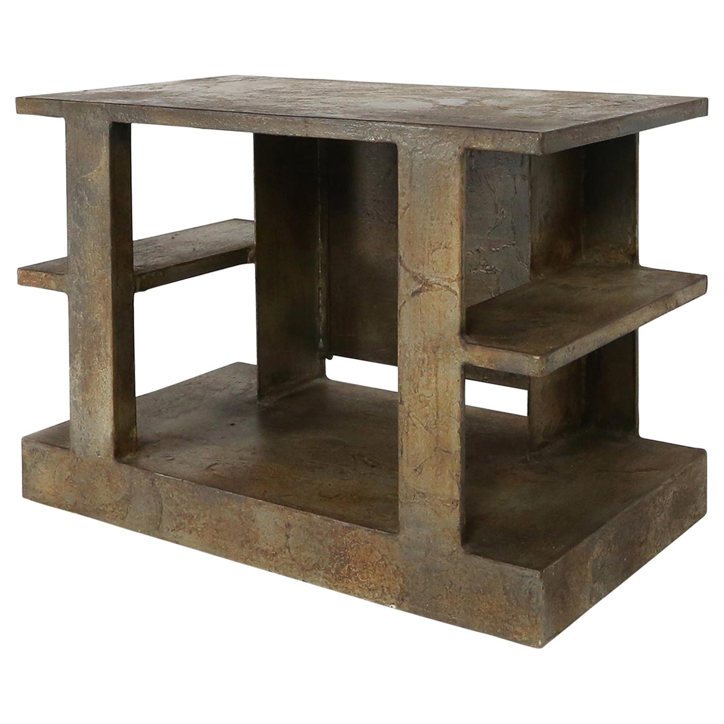 Pia Manu Brutalist Side Table or Television Table, Belgium, 1970s