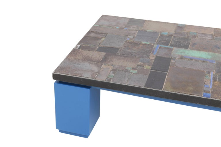 Late 20th Century Pia Manu Ceramic Tile Coffee Table For Sale
