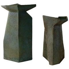 Pia Manu Ceramic Vases Brutalist Faceted Design Turquoise Glaze Monumental Scale