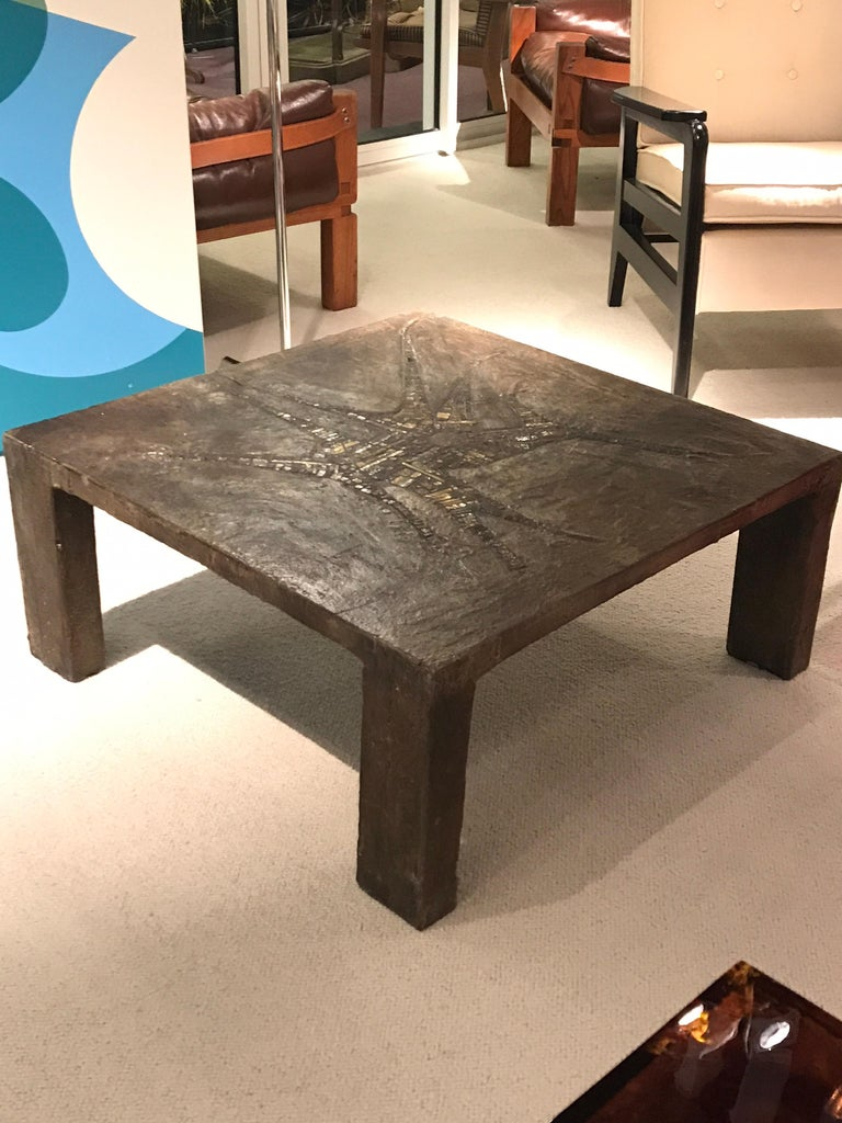 Brutalist Pia Manu Coffee Table For Sale