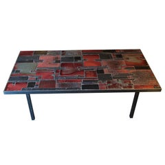 Pia Manu, Low Table in Ceramic, Slate and Chromed Metal, Belgium, 1960s
