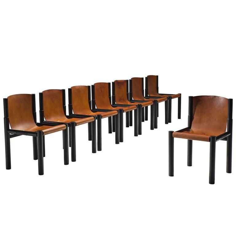 Pia Manu Original Patinated Cognac Leather Chairs