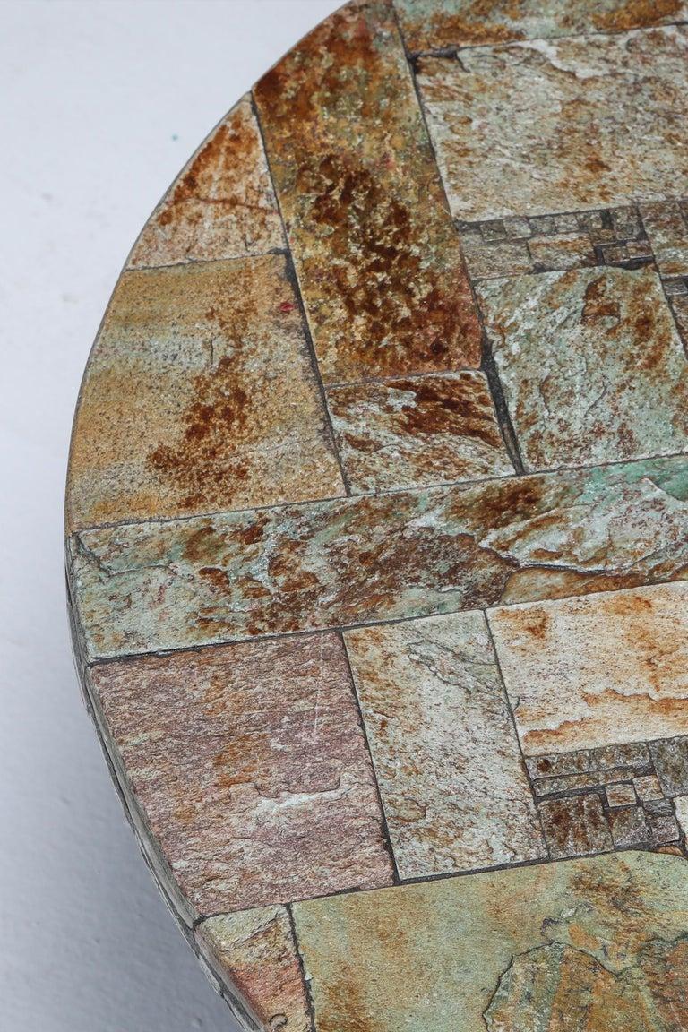 Pia Manu Round Slate Mosaic Coffee Table For Sale 3
