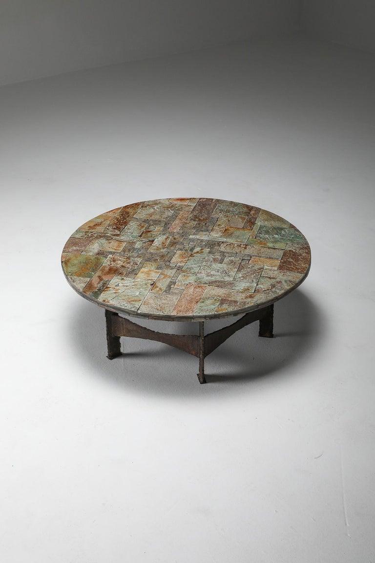 Pia Manu Round Slate Mosaic Coffee Table For Sale 4