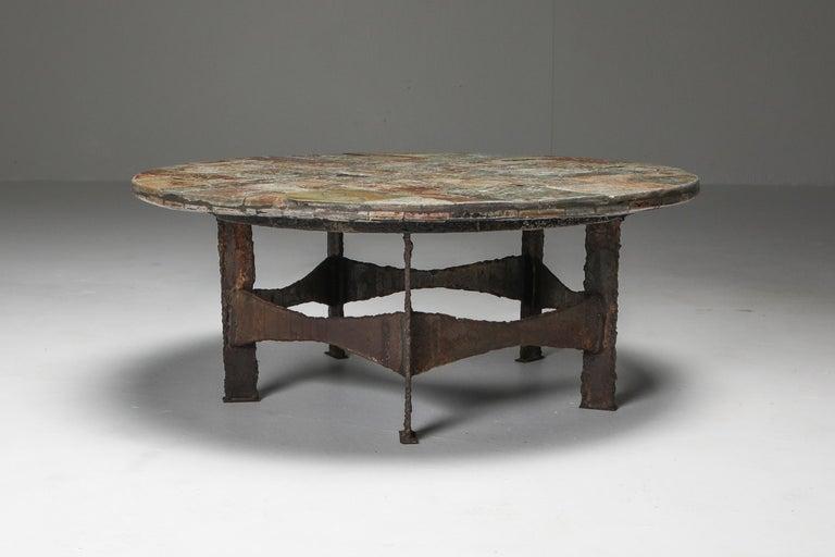 Brutalist Pia Manu Round Slate Mosaic Coffee Table For Sale