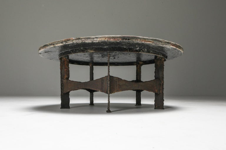 Belgian Pia Manu Round Slate Mosaic Coffee Table For Sale