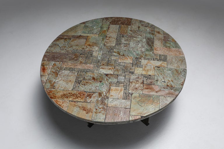 Pia Manu Round Slate Mosaic Coffee Table In Good Condition For Sale In Antwerp, BE