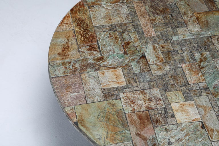 Late 20th Century Pia Manu Round Slate Mosaic Coffee Table For Sale