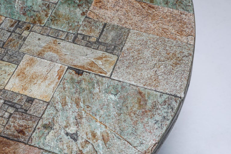 Pia Manu Round Slate Mosaic Coffee Table For Sale 1