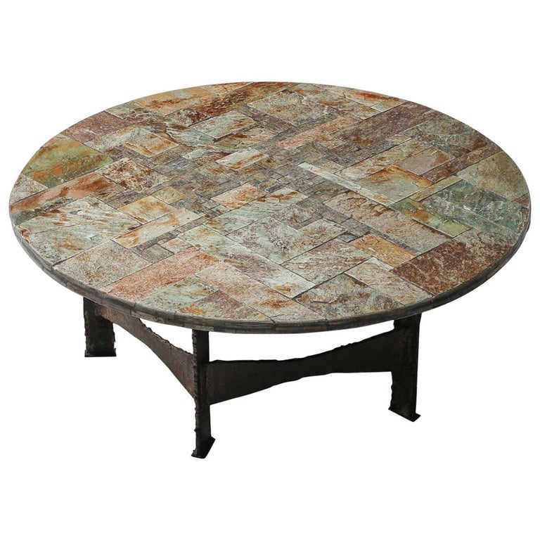 Pia Manu Round Slate Mosaic Coffee Table For Sale