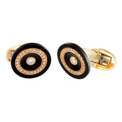 Piaget 0.60 Carat Diamond Pave Onyx Yellow Gold Cufflinks