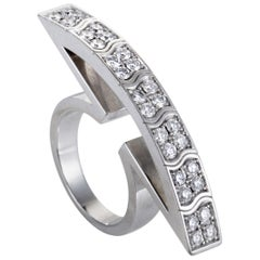 Piaget 1.30 Carat Diamond White Gold Curved Cocktail Ring