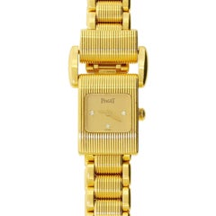 Piaget 18 Karat 750 Solid Gold Diamond Watch Tan Colored Dial Miss Protocole